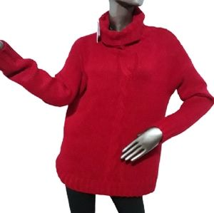 Lord & Taylor Cable Knit Turtleneck Red Sweater L